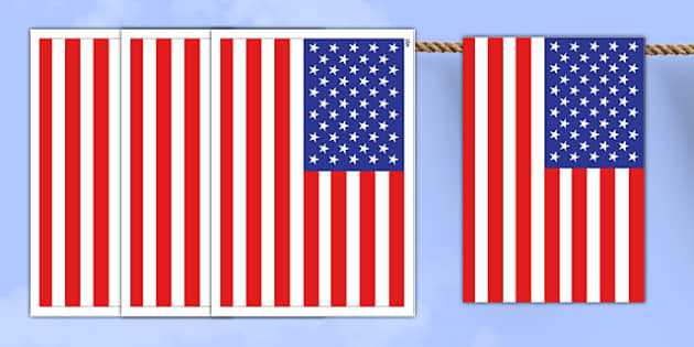 USA A4 Flag Bunting - countries, geography, flags, country