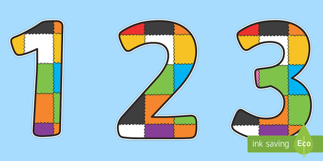 Patchwork Display Numbers to Support Teaching on Elmer - Elmer, Elmer the elephant, resources, Elmer story, patchwork elephant, PSHE, PSE, David McKee, colours, patterns, story, story book, story book resources, story sequencing, story resources