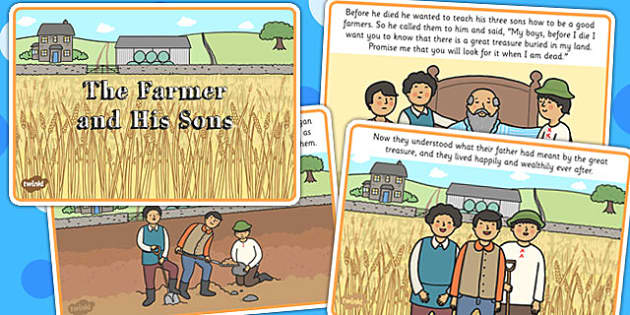 The Farmer and His Sons Story - aesops fable, stories, visual aid
