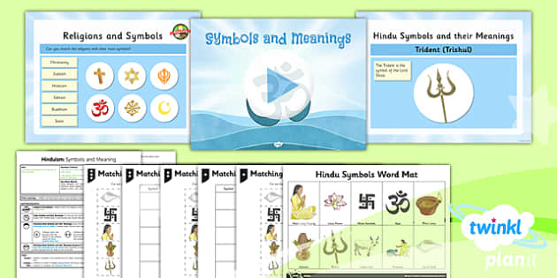 PlanIt - RE Year 3 - Hinduism Lesson 6: Symbols and Meanings Lesson Pack - Aum/Om, padma, trishul, pranama, hindu swastika