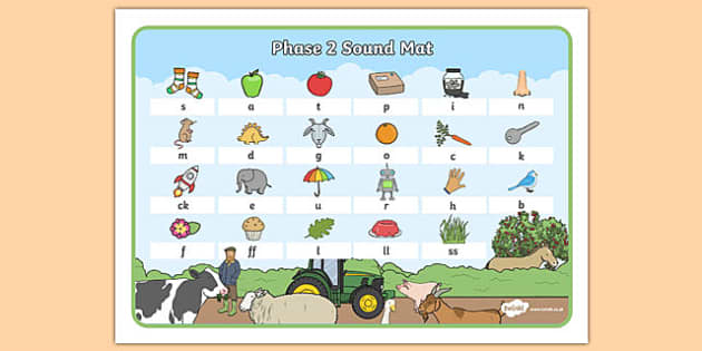 Farm Themed Phase 2 Sound Mat - farm, phase two, sound mat, visual aid, sounds