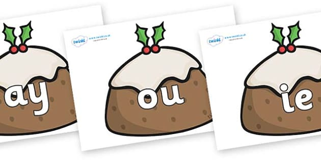 Phase 5 Phonemes on Christmas Puddings - Phonemes, phoneme, Phase 5, Phase five, Foundation, Literacy, Letters and Sounds, DfES, display