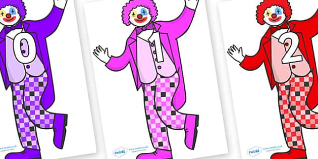 Numbers 0-50 on Clowns - 0-50, foundation stage numeracy, Number recognition, Number flashcards, counting, number frieze, Display numbers, number posters