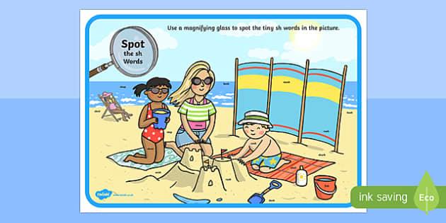 Phase 3 sh Words Beach Scene Magnifying Glass Activity Sheet, worksheet
