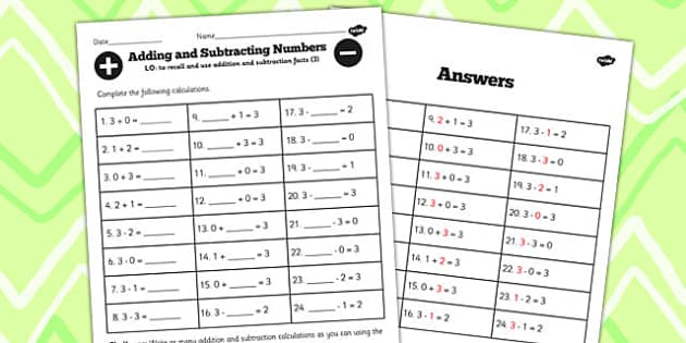 Number Facts to 3 Worksheet - number, facts, 3, worksheet, maths