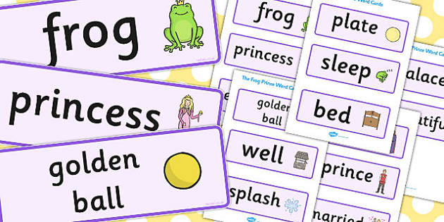 The Frog Prince Word Cards - Frog, princess, prince, evil fairy, splash, kiss, well, word card, flashcards, cards, king, bed, sleep, golden ball, beautiful, fell, plate, palace, traditional tale, story, book, story resources