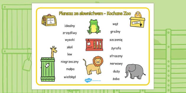Plansza ze słownictwem Kochane Zoo po polsku - lektury