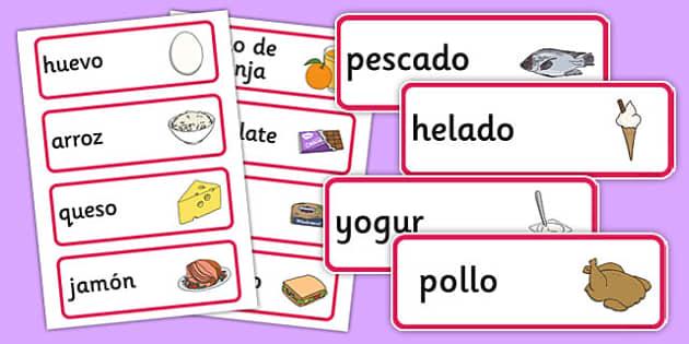 Spanish Food Vocabulary Cards - visual, aids, Spain, literacy