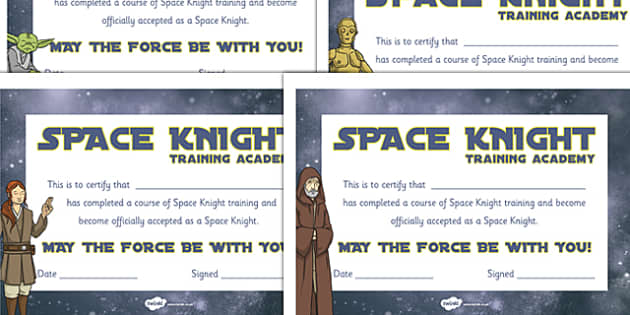 Space Knight Training Certificate - Jedi, Warrior, Star wars, space wars, training, certificate
