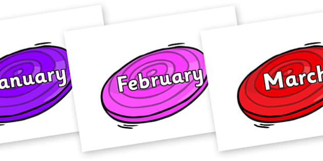 Months of the Year on Frisbees - Months of the Year, Months poster, Months display, display, poster, frieze, Months, month, January, February, March, April, May, June, July, August, September