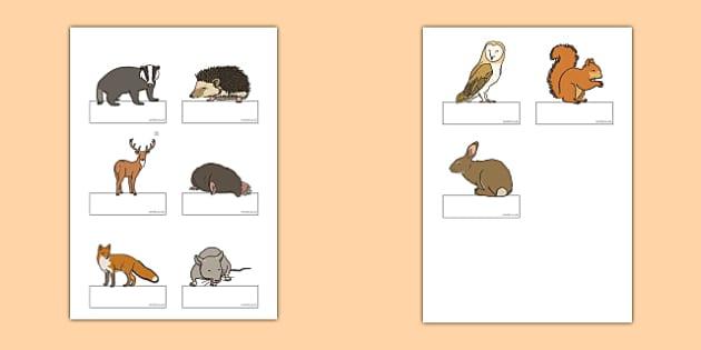 Editable Self Registration Labels (Woodland Animals) - Self registration, register, editable, labels, registration, child name label, printable labels