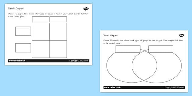 Shapes Carrol Venn Diagram Worksheets Higher Ability - australia