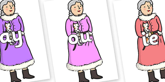 Phase 5 Phonemes on Mrs Clause to Support Teaching on The Jolly Christmas Postman - Phonemes, phoneme, Phase 5, Phase five, Foundation, Literacy, Letters and Sounds, DfES, display