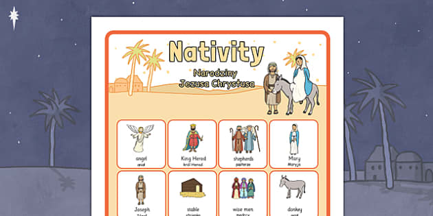 Nativity Vocabulary Poster Polish Translation - polish, nativity, vocabulary, poster, display, christmas