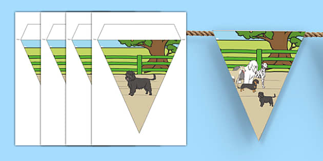 Dog Themed Display Bunting - Dame Lynley Dodd, hairy maclary, dog, display bunting, display, bunting