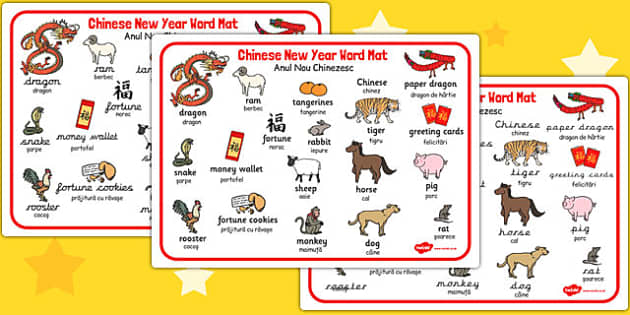 Chinese New Year Word Mat EAL Romanian Translation - romanian