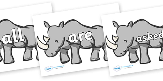 Tricky Words on Rhinos - Tricky words, DfES Letters and Sounds, Letters and sounds, display, words