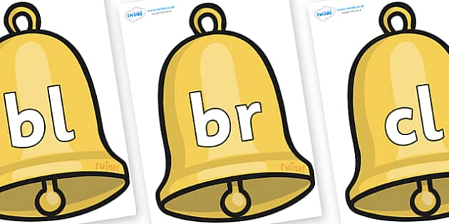 Initial Letter Blends on Christmas Bell - Initial Letters, initial letter, letter blend, letter blends, consonant, consonants, digraph, trigraph, literacy, alphabet, letters, foundation stage literacy