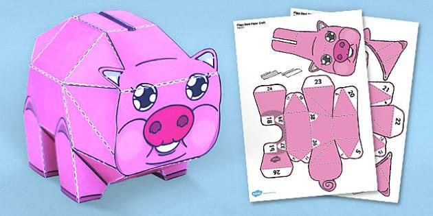 Piggy Bank Paper Craft - piggy bank, paper, craft, model, bank