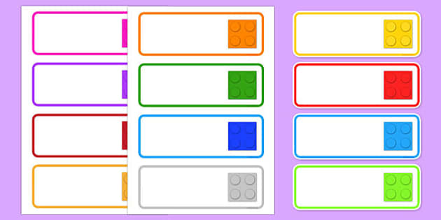 Building Brick Themed Drawer Peg Name Labels - name tags,  labels