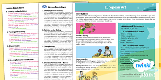 PlanIt - Art LKS2 - European Art Planning Overview CfE - european, art, planning, planit, overview, ks2, 2014, planning