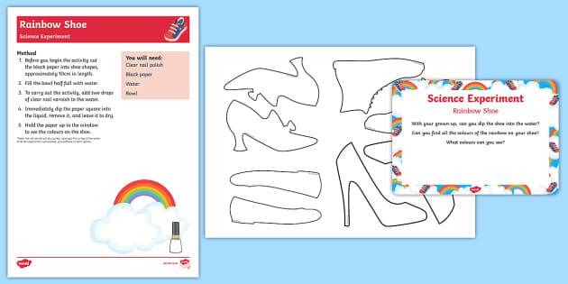 EYFS Rainbow Shoe Science Experiment and Prompt Card Pack - The Elves and the Shoemaker, traditional tales, Christmas, rainbow, refraction, colours, experiment,