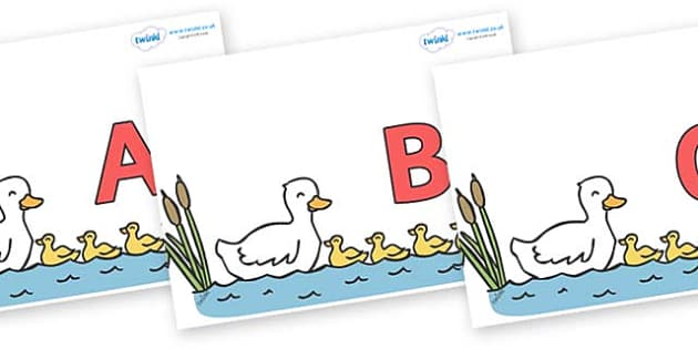 A-Z Alphabet on Five Little Ducks - A-Z, A4, display, Alphabet frieze, Display letters, Letter posters, A-Z letters, Alphabet flashcards