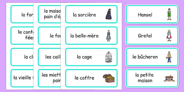 Hansel and Gretel Word Cards French - EAL, translated, traditional tales, fairy tales