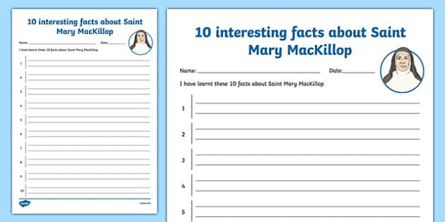 10 Facts About Saint Mary MacKillop Activity Sheet-Australia, worksheet