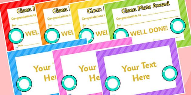 Clean Plate Award Certificates - Clean Plate Award Certificate, Clean Plate, Clean, Award, Clean Certificate, Clean Plate Certificate