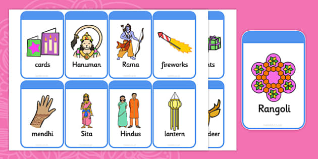 Diwali Flashcards - religion, festivals, celebrations, visual aid