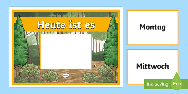 Forest-Themed Days of the Week Display Poster German - Days of the Week, German, Gruffalo, Forest, theme, mfl, languages