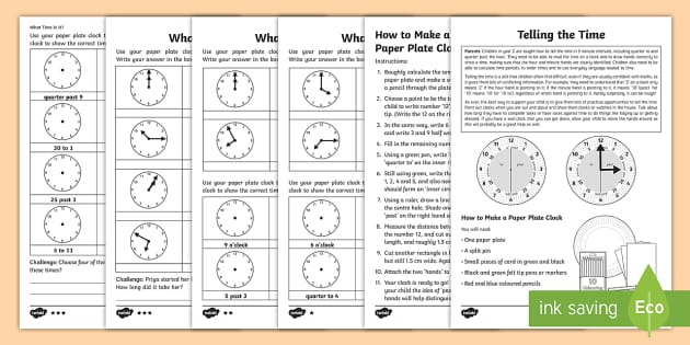 Year 2 Maths Telling The Time Homework Activity Sheet Clock