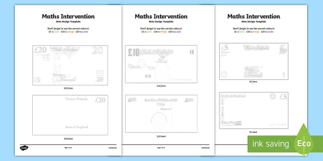 Maths Intervention Note Design Template - SEN, special needs, maths, money, counting money, recognising money, adding money, coins, notes