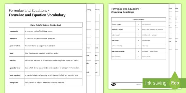 Formulae and Equations Glossary Activity - KS4 Glossary, Equation, Formula, Ions, Ionic, Covalent, Metallic, Precipitate, Product