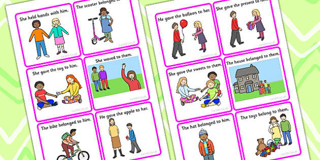 Him Her Them Picture Description Cards - describe, SEN, card