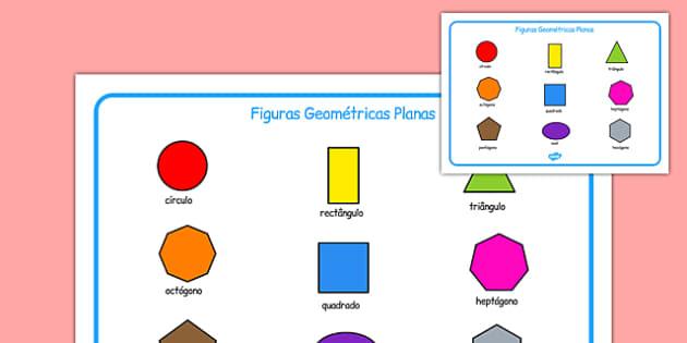 Figuras Geométricas Planas Portuguese - portuguese, 2d shape, word mat, word, mat, 2d, shape