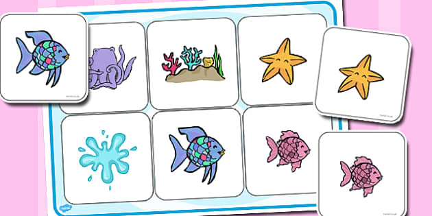 Matching Cards and Board to Support Teaching on The Rainbow Fish - the rainbow fish, rainbow fish picture matching activity, rainbow fish matching game, rainbow fish sen activity