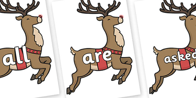 Tricky Words on Rudolph - Tricky words, DfES Letters and Sounds, Letters and sounds, display, words
