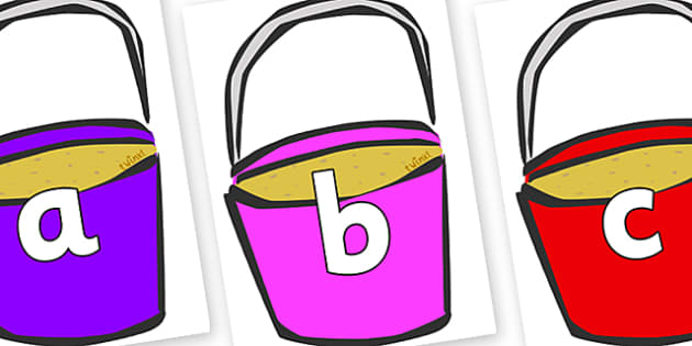Phoneme Set on Buckets - Phoneme set, phonemes, phoneme, Letters and Sounds, DfES, display, Phase 1, Phase 2, Phase 3, Phase 5, Foundation, Literacy