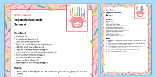 Slow Cooker Vegetable Ratatouille Recipe