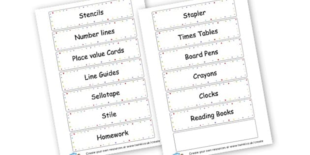 Oak new - display lettering - Resource Labels Primary Resources, resource, label, drawer labels