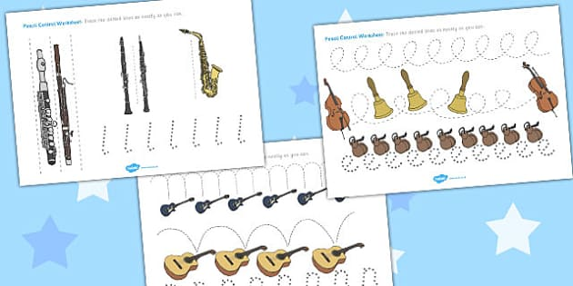Musical Instruments Pencil Control Worksheets - music instrument