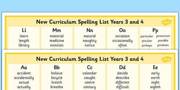 2014 Curriculum Spelling List Years 3 And 4 Column Word Mat - spell