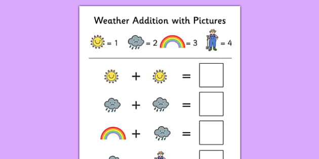 Weather Themed Addition with Pictures Activity Sheet Pack - themed, addition, pictures, activity, sheets, weather, worksheet