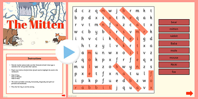 The Mitten Interactive Wordsearch - the mitten, wordsearch, activity
