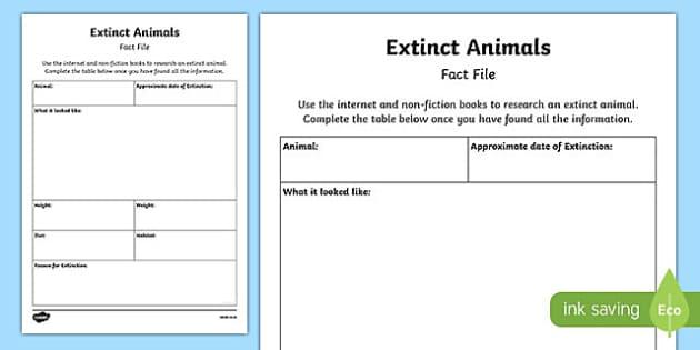 Extinct Animal Fact File Activity Sheet Pack, worksheet