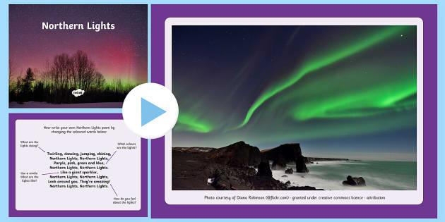 Northern Lights Poem PowerPoint - CfE, Northern Lights, aurora borealis, poem, poetry, describe, descriptive, writing, polar lands, sp