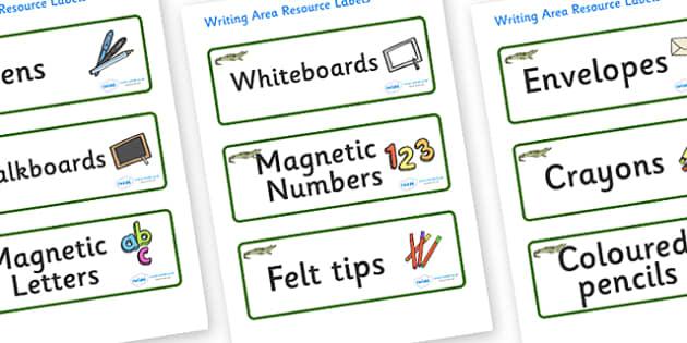 Crocodile Themed Editable Writing Area Resource Labels - Themed writing resource labels, literacy area labels, writing area resources, Label template, Resource Label, Name Labels, Editable Labels, Drawer Labels, KS1 Labels, Foundation Labels, Foundat