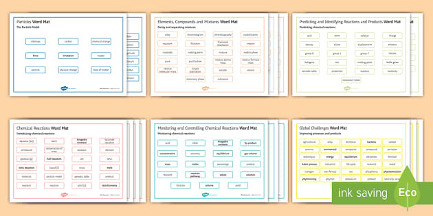 OCR Gateway Chemistry Word Mats - Word Mat, particles, elements, compounds, and mixtures, chemical reactions, predicting and identifyi